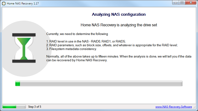 Wait for NAS disk analysis in Home NAS Recovery software